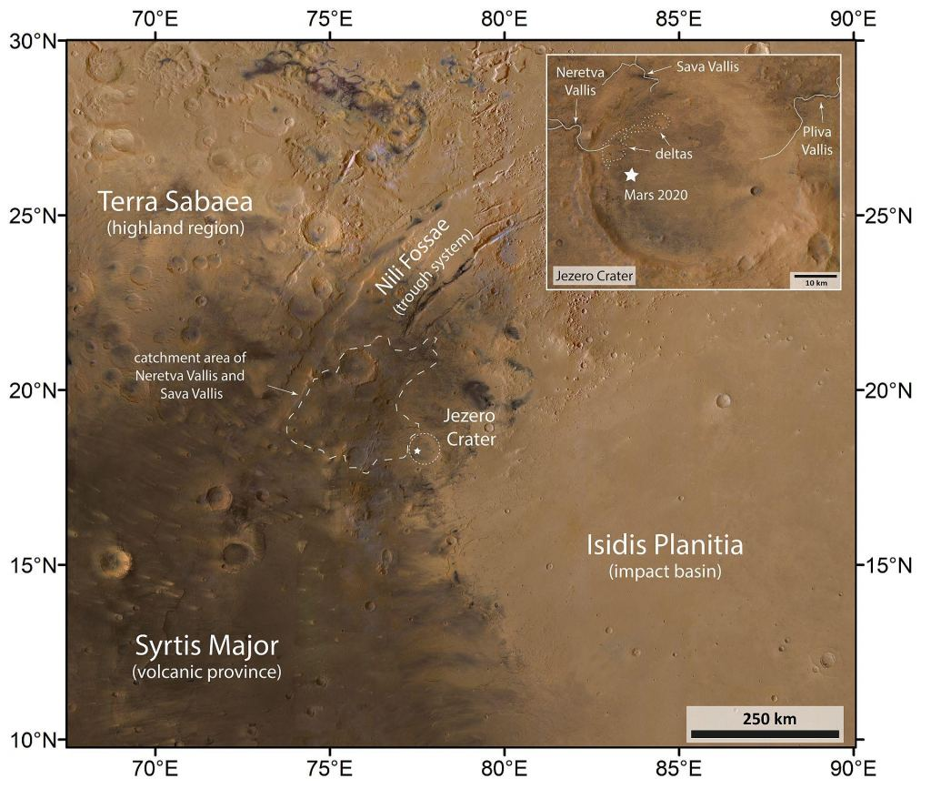 Another image from the HRSC. Terra Sabea is about 4.1–3.7 billion years old, and the Isidis impact basin is from the same time period, about 3.9 billion years ago. Syrtis Major is about 3.7 to 3 billion years old, and the Isidis Planitia is younger, forming between about 3 billion years ago into modern times. So Perseverance has an opportunity to look at rocks from all throughout Martian geologic history. Image Credit: ESA/DLR/FU Berlin, BY-SA 3.0 IGO