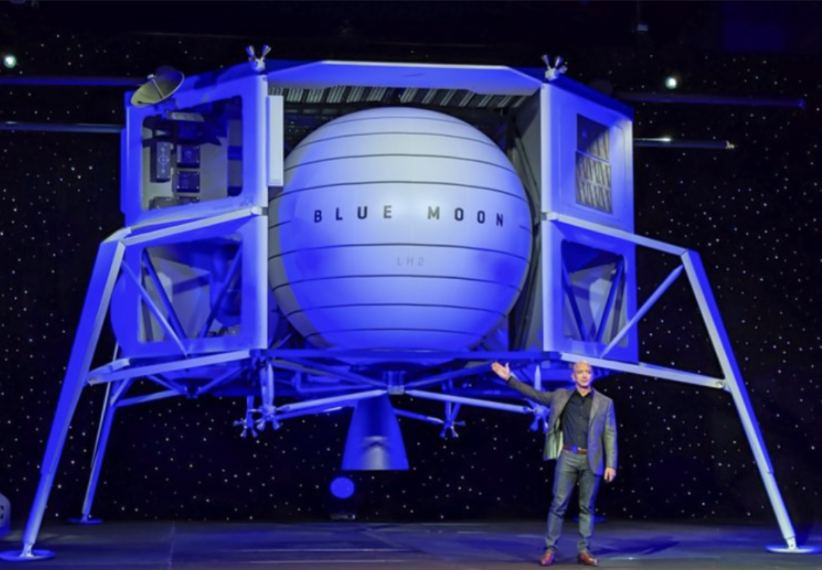 Jeff Bezos stands in front of the Blue Moon - Blue Origin's planned Lunar Lander